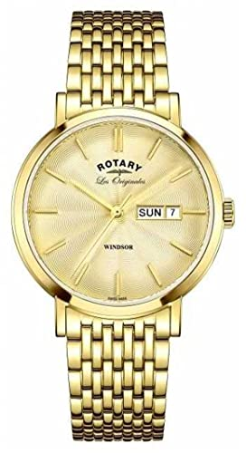 34a3f2e94711 Rotary Mens Windsor Gold Plated Strap GB90156 03  Amazon.co.uk  Watches
