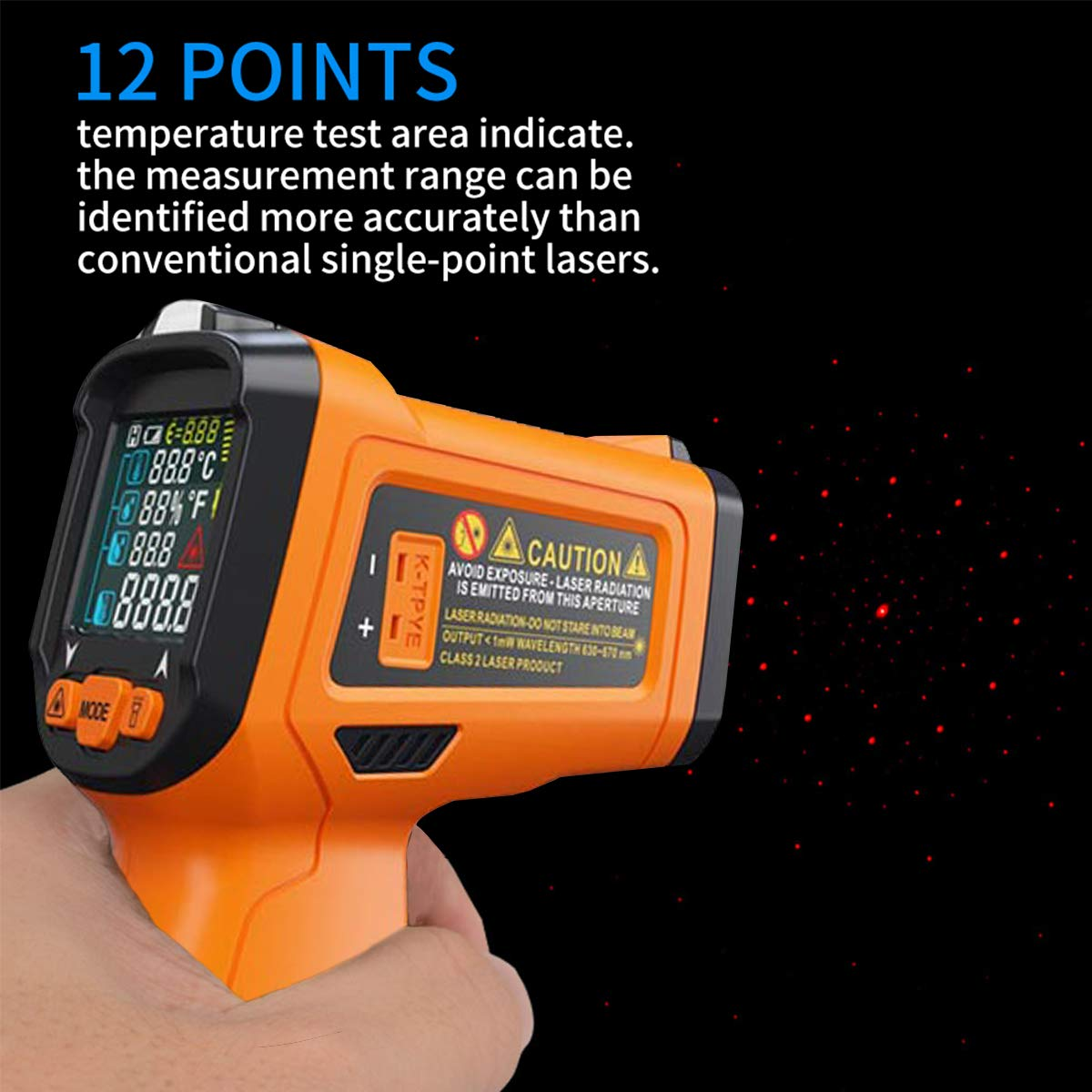 Laser Infrared Thermometer,HANMER Non Contact Temperature Gun Instant-Read -58 ℉to 1472℉with LED Display K-Type Thermocouple for Kitchen Cooking BBQ Automotive and Industrial PM6530D Thermometer by HANMATEK (Image #3)