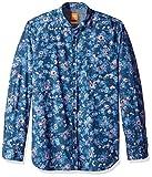 Hugo Boss Boss Orange Men's Cattitude Woven All Over Print Long Sleeve Shirt, Dark Blue, Large