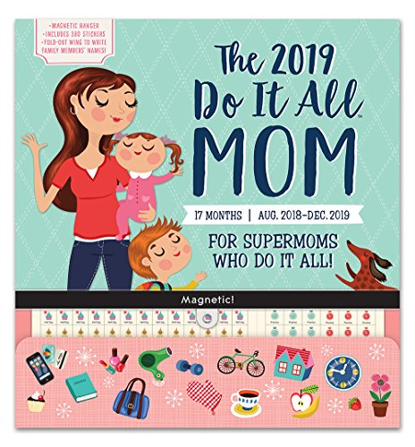 Orange Circle Studio 2019 Do It All Magnetic Wall Calendar, August 2018 - December 2019, Moms Do It All