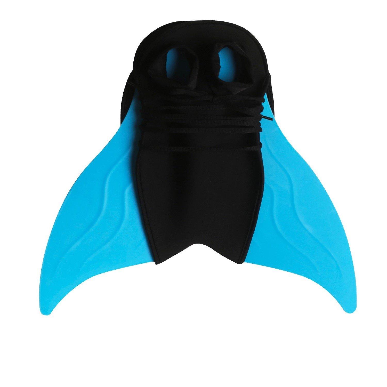 GALLDEALS 3pcs Swimmable Mermaid Tail for Kids Girls Princess Bikini Set Swimsuit Swimwear, 3-12Years (Monofin, Blue)