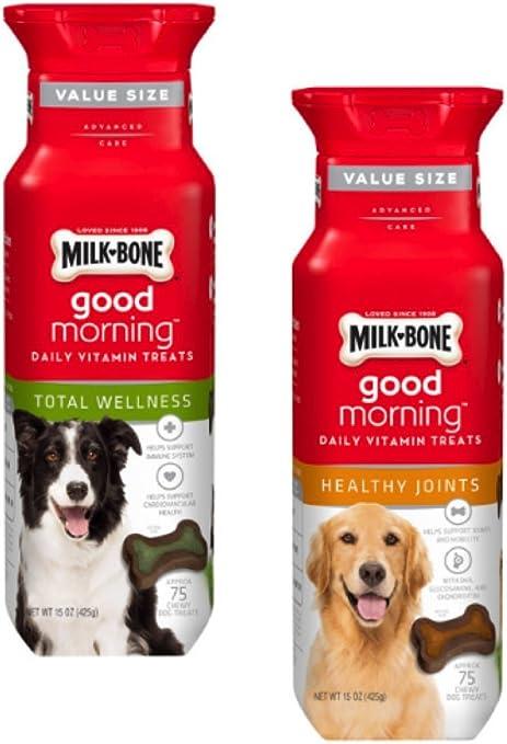 Milk-Bone Good Morning Daily Vitamin Treats 2 Flavor Variety Bundle: Milk-Bone Healthy Joints and Milk-Bone Total Wellness, 15 Oz. Each