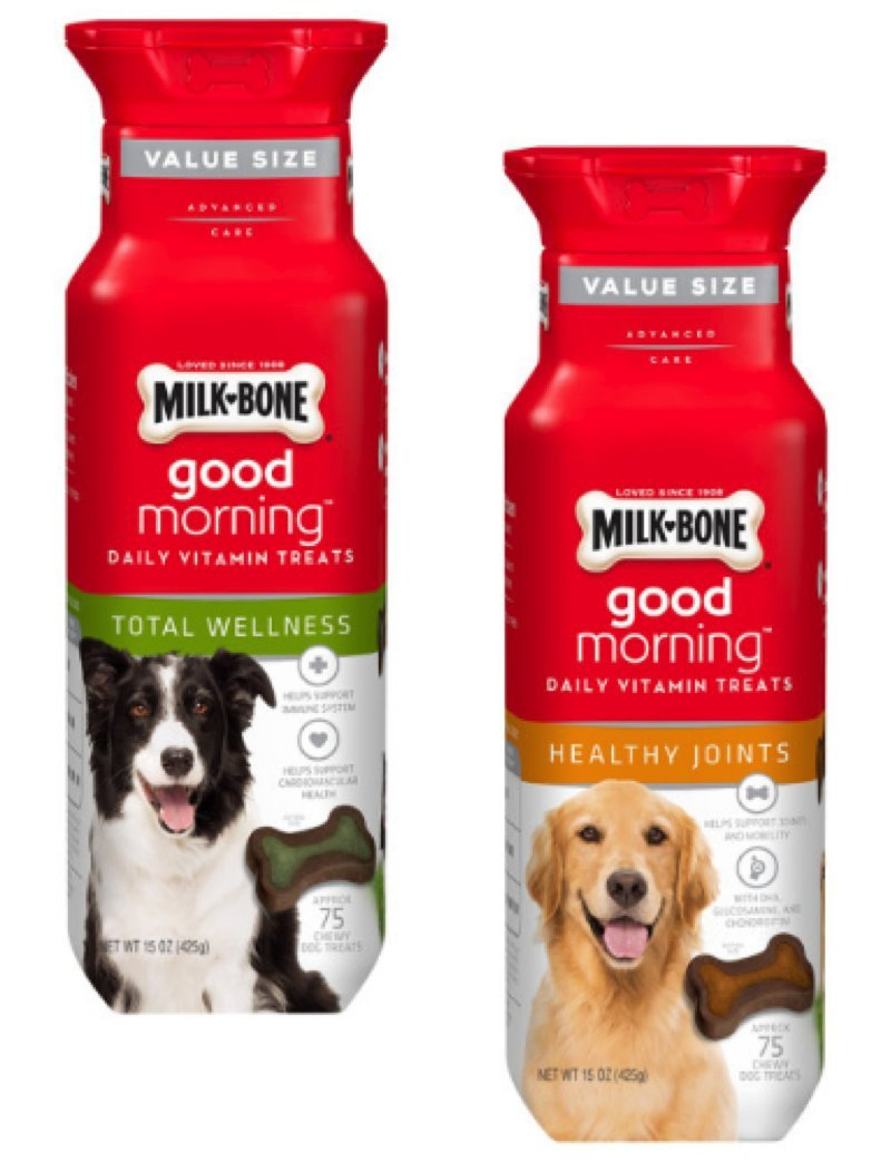 Milk-Bone Good Morning Daily Vitamin Treats 2 Flavor Variety Bundle Milk-Bone Healthy Joints and Milk-Bone Total Wellness, 15 Oz. Each