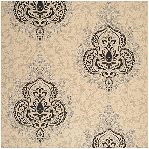 Safavieh Courtyard Collection CY7926-16A22 Cream and Black Indoor/ Outdoor Square Area Rug (7'10