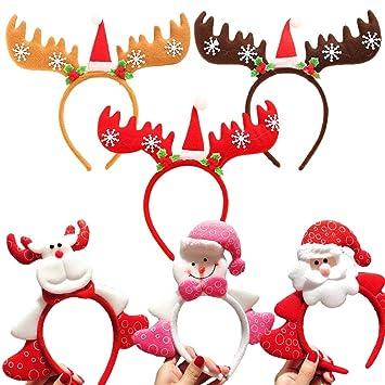 Amazon.com   Aisikasi Christmas Santa Headbands Reindeer Antlers Christmas  Head Bands Hair Hoop Christmas Holiday Years Decoration 6 Pack Christmas  Party ... aa814c585e2