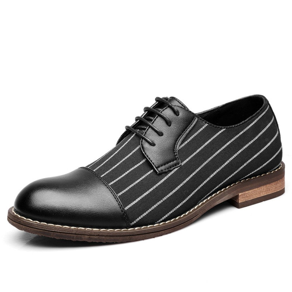 ZPFME Herren Stripe Canvas Leder Formelle Brogues Smart Kleid Schuhe Schnürschuhe Derby Schuhe Für Männer Business Schuhe