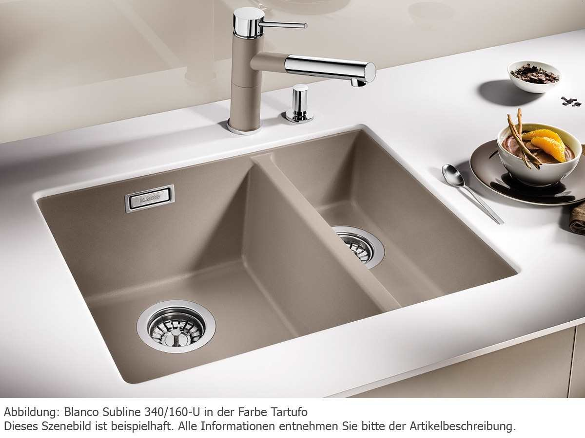 Blanco Subline 340 / 160-U Granite Sink Rock-Garu Sink with Flush ... | {Spülbecken blanco silgranit 12}