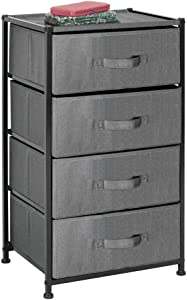 mDesign Vertical Furniture Storage Tower - Sturdy Steel Frame, Easy Pull Fabric Bins - Organizer Unit for Bedroom, Hallway, Entryway, Closets - Textured Print - 4 Drawers - Charcoal Gray