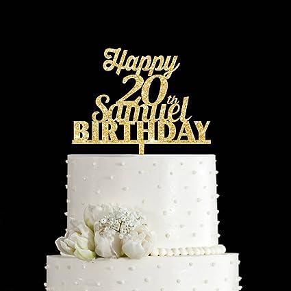 Amazon Com Kiskistonite Happy Birthday 20th Cake Topper Elegant