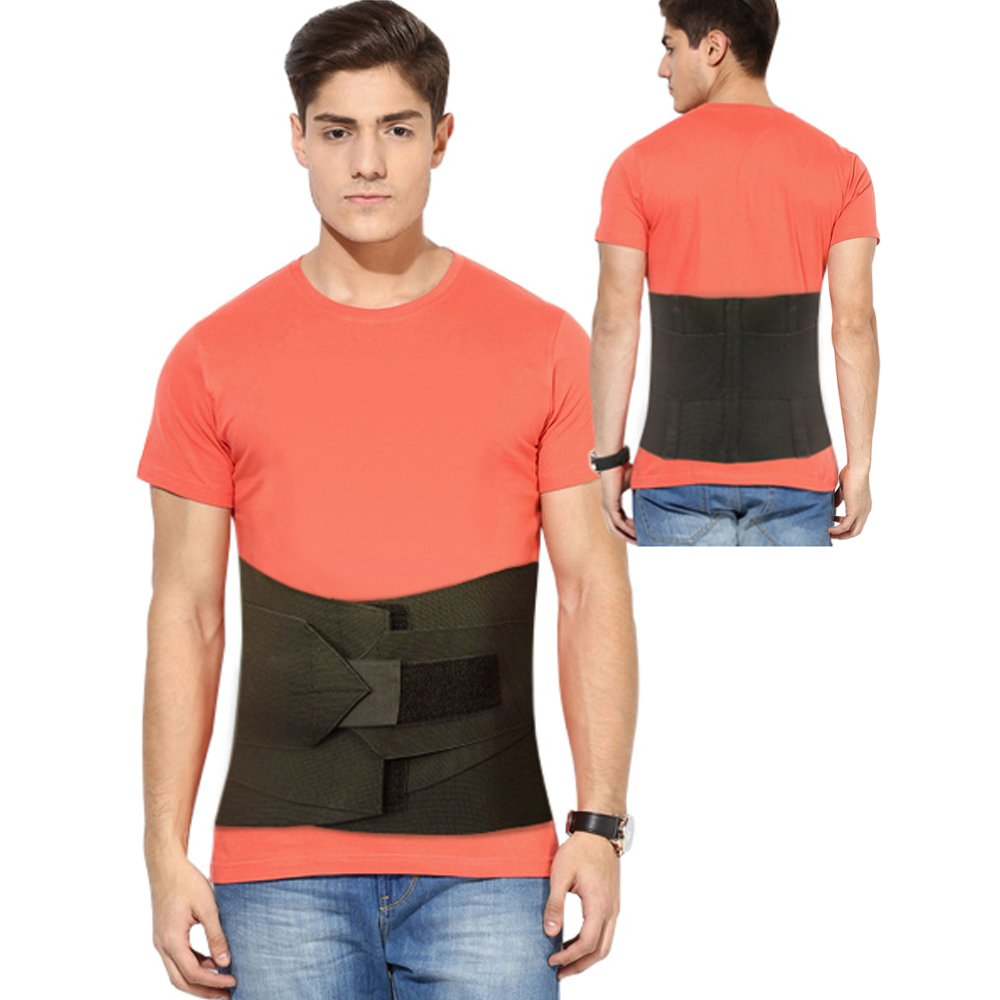 Back Brace Lumbar Sacral Support, Dual Compression Double Overlapping, With Removable Pad, Adjustable Elastic Comfort Fit, Breathable Soft Fabric, Pain Reliever Belt For Complete Spine & Back Support