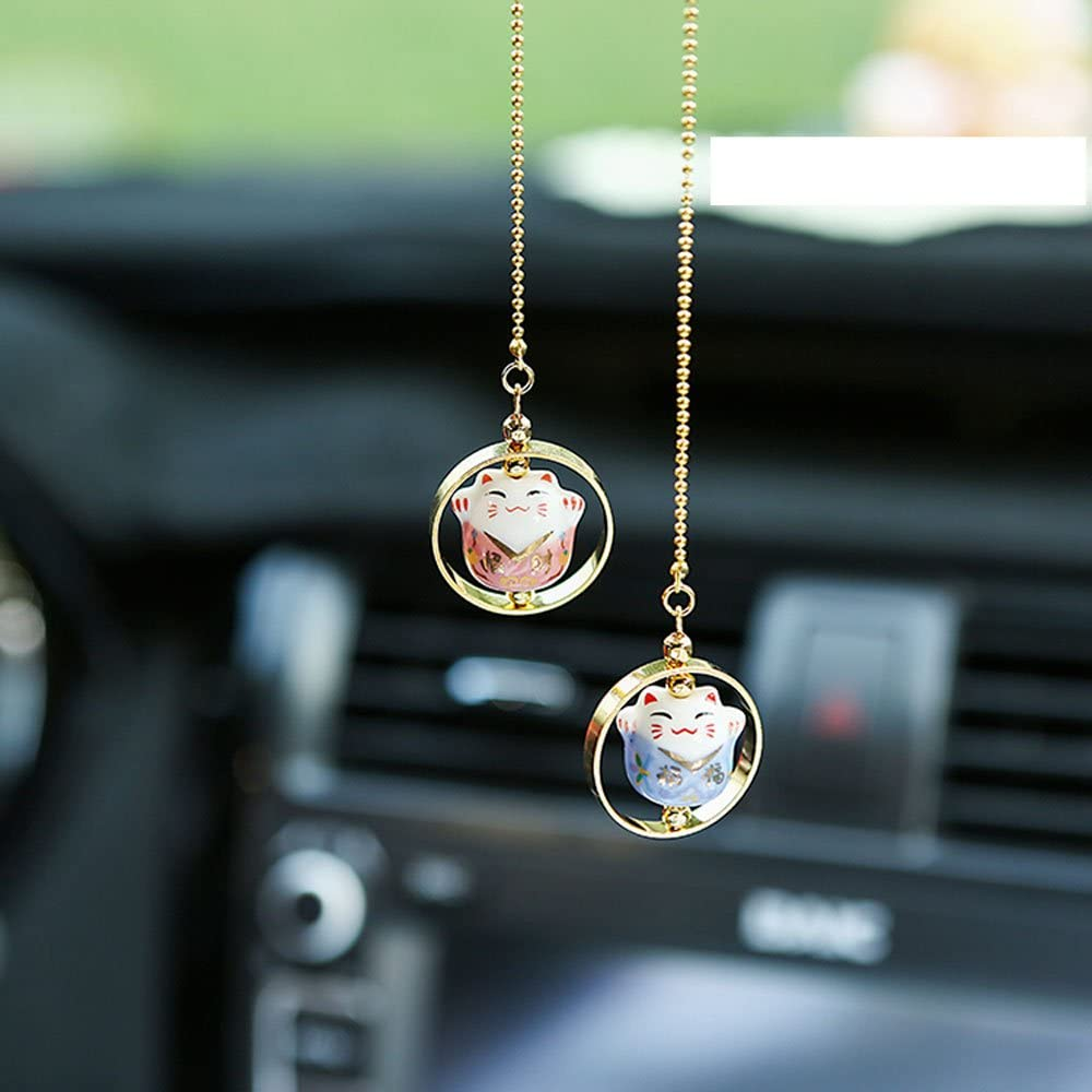 UZHOPM Lucky Cat Car Pendant Chinese Ceramic Car Hanging Ornament Car Interior Decor (Pink&Blue)