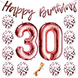 "30th Birthday Party Decorations Rose Gold Decor Strung Banner (Happy Birthday) & 12PC Helium Balloons w/Ribbon [Huge Numbers ""30"", Confetti] Kit Set Supplies 