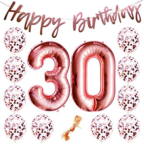 (30th Birthday Party Decorations Rose Gold Decor Strung Banner (Happy Birthday) & 12PC Helium Balloons w/Ribbon [Huge Numbers