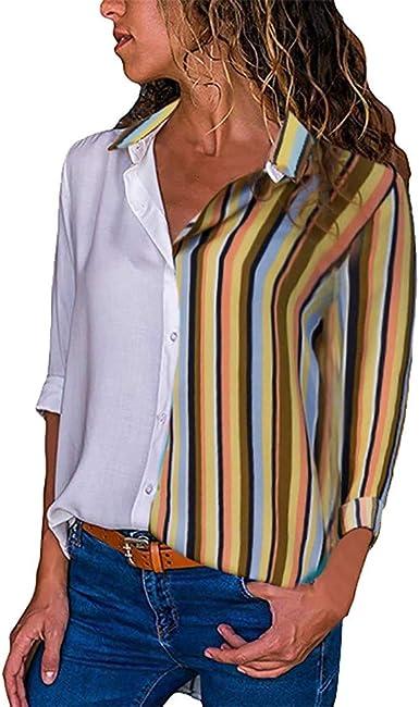 QIYUN.Z Camisa de Moda para Mujer Sólido Patchwork Raya ...