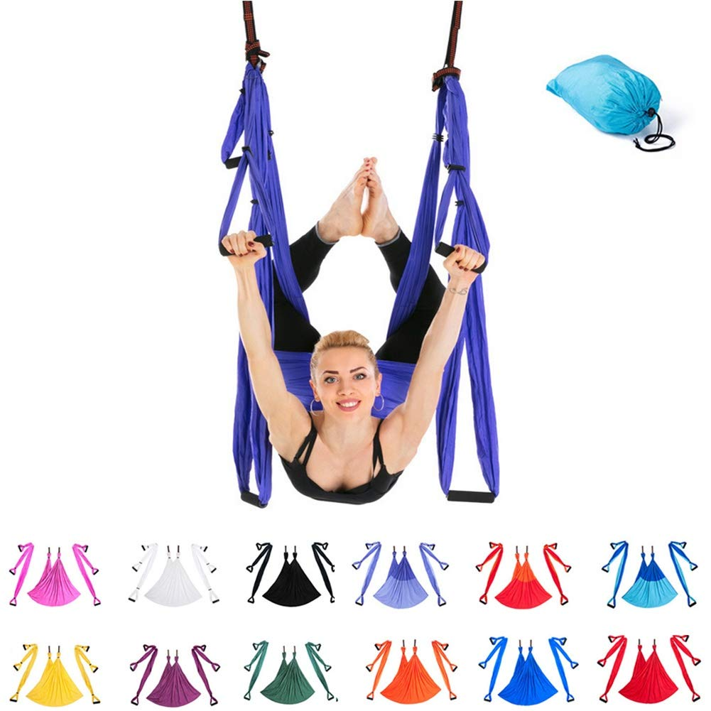 HONGSHENG Aerial Yoga Hängematte - Aerial Yoga Anti-Schwerkraft-Übung, Einschließlich Zwei Verlängerungsgurte und Zwei Hängenden Tabletts