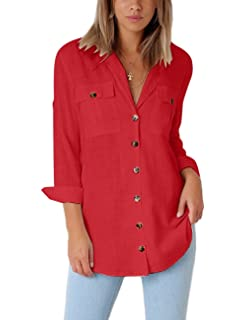 24336617448df GRAPENT Womens Casual Loose Roll-up Sleeve Blouse Pocket Button Down Shirts  Tops