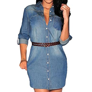 e995b3e130eb Scothen Spitze Femmes Jupe Denim Jeans Denim à Manches Longues Party Mini-Robe  Jeans Printemps Eté Bouton élégant Moulante Jeanskleid Genou Longueur Denim  ...