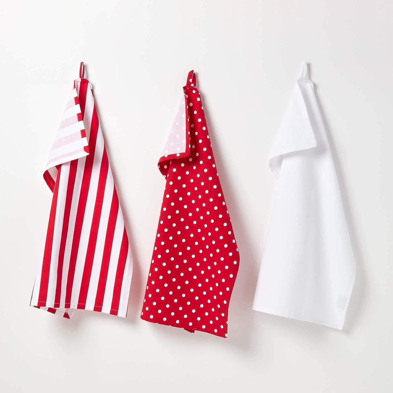 Homescapes Juego de 3 Trapos de Cocina, 100% algodón, rojo y ...