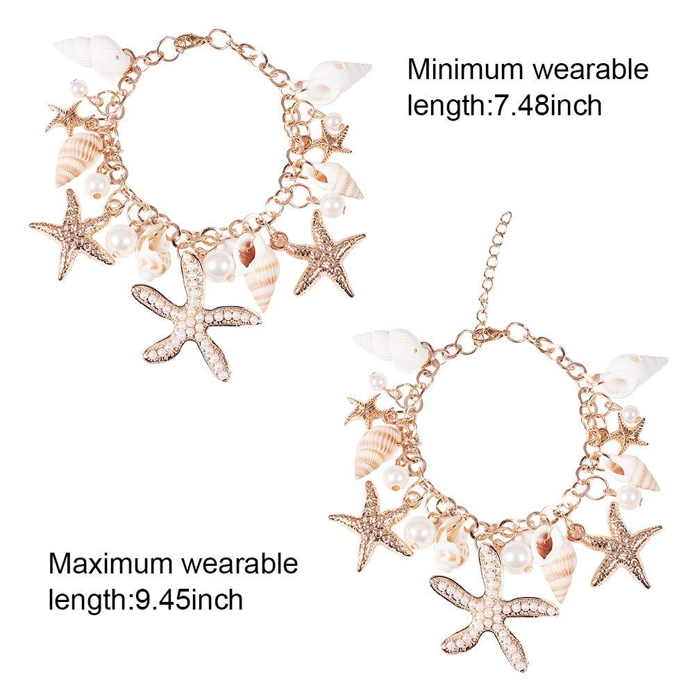PandaHall Elite Ozean-Art Multi Seestern Sea Star Seestern Conch Shell Perlen Kette Armband Armkette und Halskette
