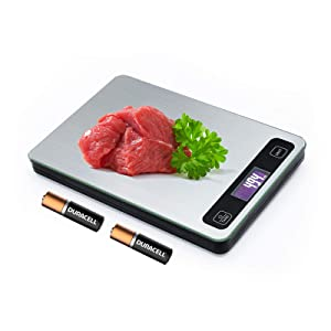Digital Kitchen Food Scale for Baking Weight Loss Grams and Ounces OZ Lb ML 5 Units 1g to 33lb Stainless Steel Wipe with LCD Display Silver (Include AAA Battery)