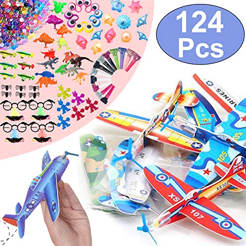 12 Pcs Flying Glider Plane with 10 Styles Mini Party Favors for Kids Boys Girls, Toy Assortment 124 PCS Carnival Prizes Box Toys for Classroom Rewards Treasure Box Pinata Fillers Birthday Ideal Gifts ()