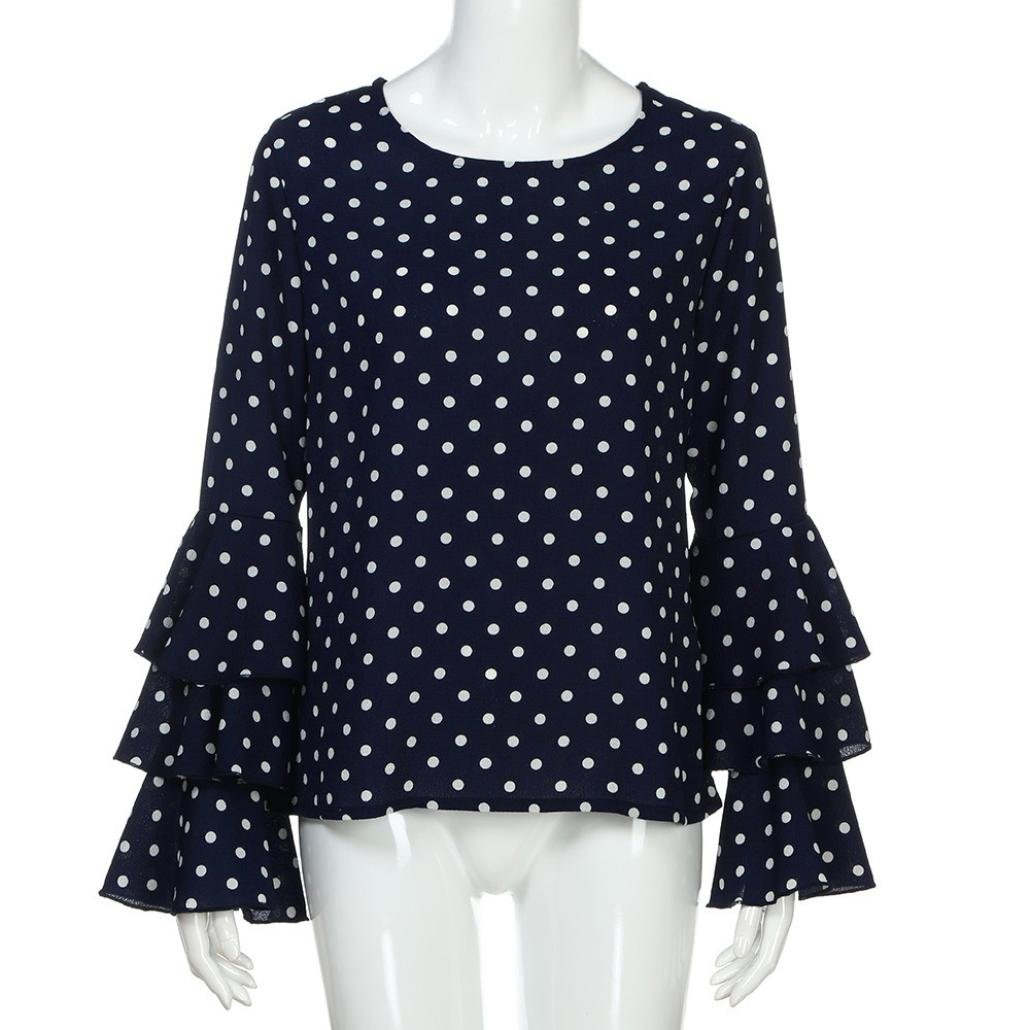 Amazon.com: Hot Sale Fashion Womens Adorable Bell Sleeve Tops Loose Elegant Polka Dot T Shirt Ladies Casual Blouse: Clothing