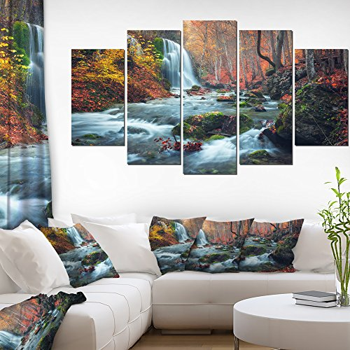 Autumn Waterfall - Autumn Mountain Waterfall Long View Landscape Photography Canvas Print