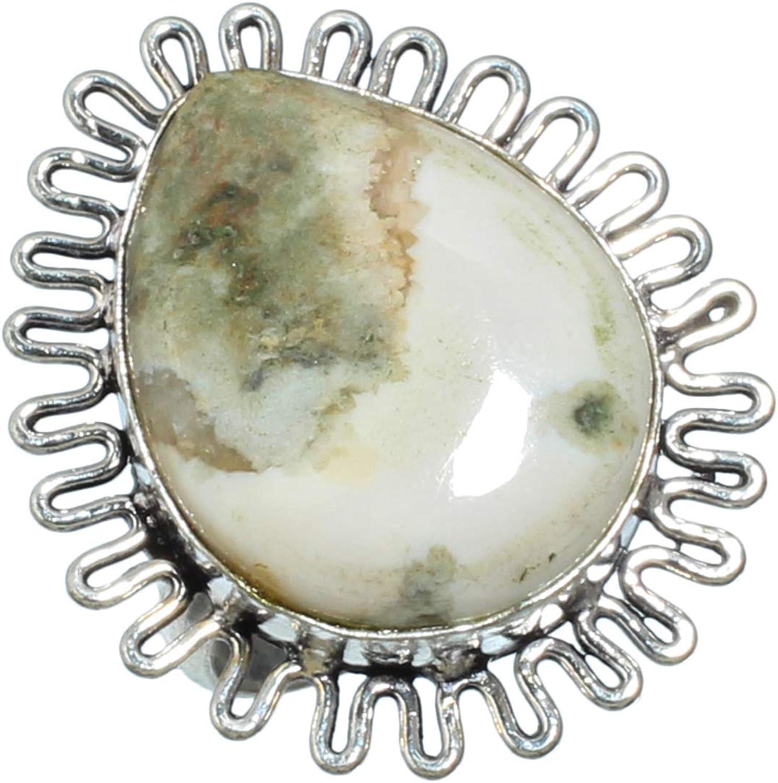 jewels paradise Anillo de Plata de Ley 925 Chapado en Plata de Ley con Piedra Preciosa de ágata de Musgo (SF-1836), tamaño del Anillo (US) – 9
