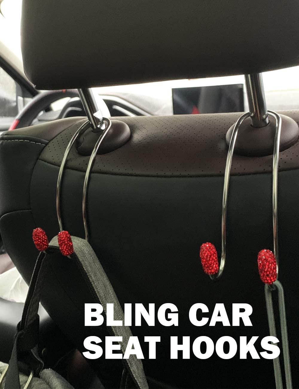 Bling Car Accessories for Women Car Bag Hanger for Bag Clothes Grocery with Ring Emblem Sticker and 4 Valve Stem Caps PLANTURECO 2 Pack Bling Car Seat Hooks Universal Headrest Hooks for Car Pink