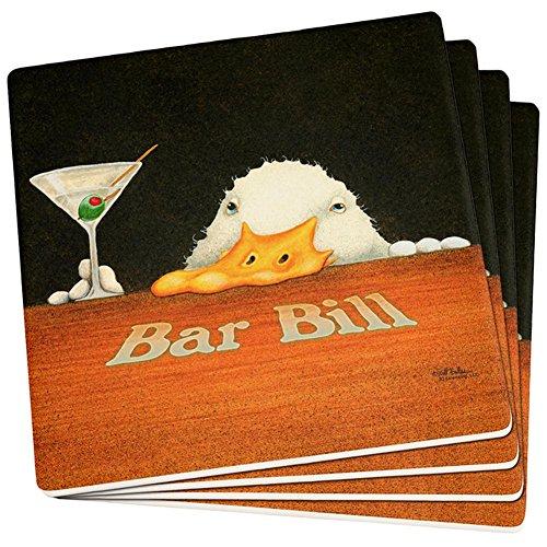 Bar Bill Funny Duck Martini Set of 4 Square Sandstone Coasters Multi Standard One Size