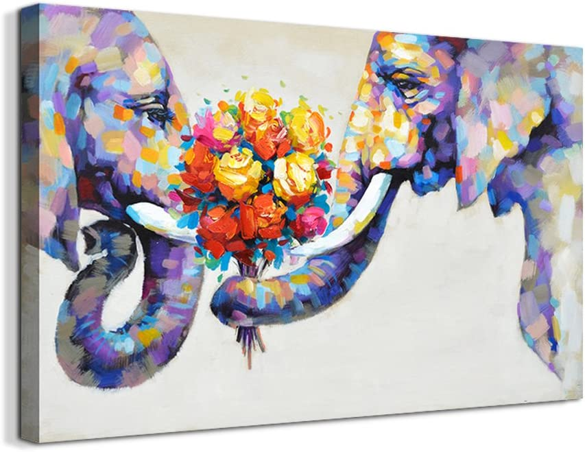 Crescent Art Abstract Elephant Flower Large Canvas Wall Art Animal Oil Painting on Canvas Print Wall Art Picture Home Wall Decor for Livingroom (36 x 24 inch, Framed)