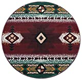 South West Native American Round Area Rug Design C318 Burgundy (4 Feet X 4 Feet) Round