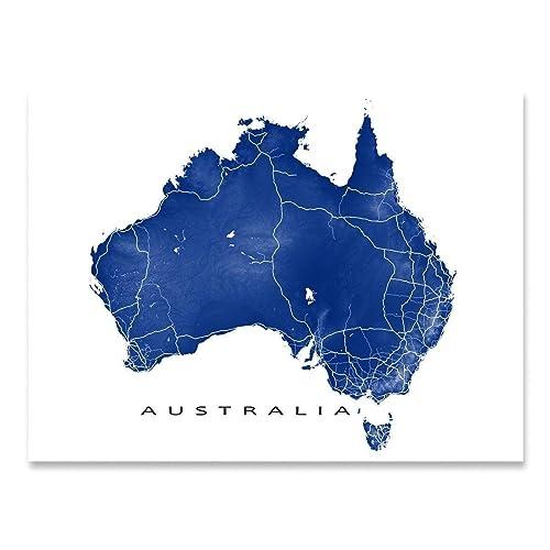 Australia Country Map.Amazon Com Australia Map Wall Print Country Landscape Art