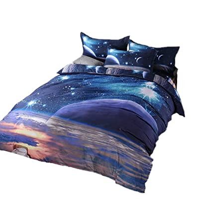 Mysterious Galaxy Duvet Cover Set Twin with Zipper, 3D Printed Space Themed Reversible Kids Bedding Set, Includes 1 Duvet Cover, 2 Pillow Shams(Twin, Galaxy E): Home & Kitchen