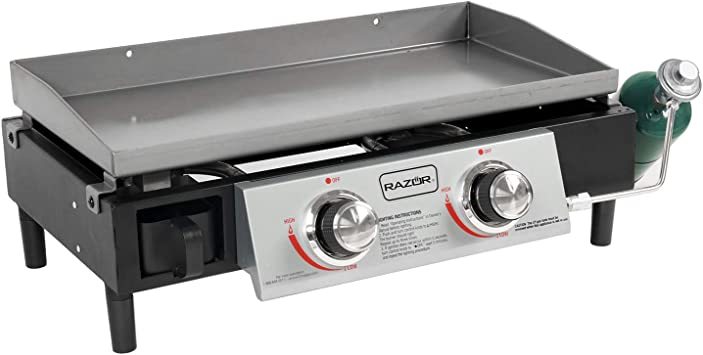 Razor Griddle GGT2130M 25 Inch Outdoor 2 Burner Portable LP Propane Gas Grill Griddle with 318 Square Inch for BBQ Cooking and Frying, Black (Steel)