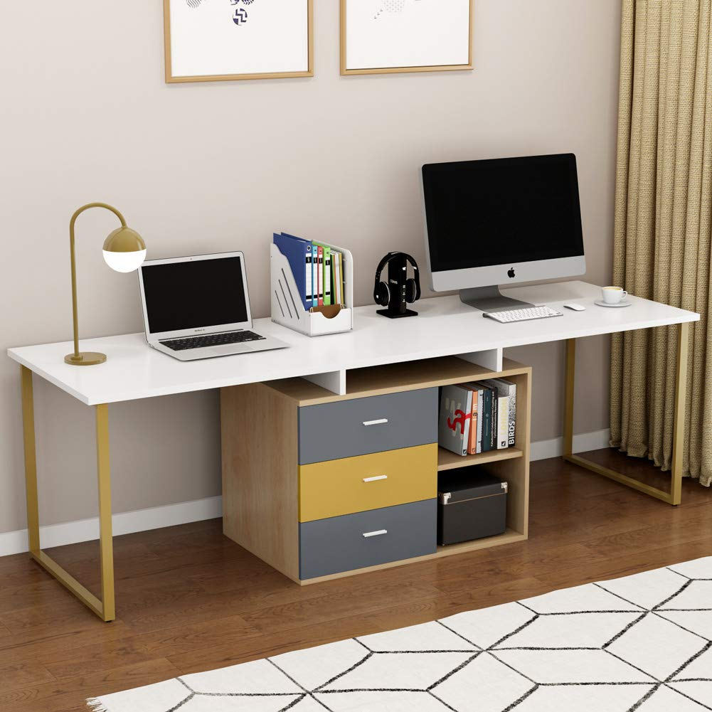 Tribesigns 87 Inches Extra Long Computer Desk for Two Person, Adjustable Double Workstation Office Desk with File Cabinet, Large Reversible L-Shaped Desk for Home Office, White + Gold Metal Legs by Tribesigns
