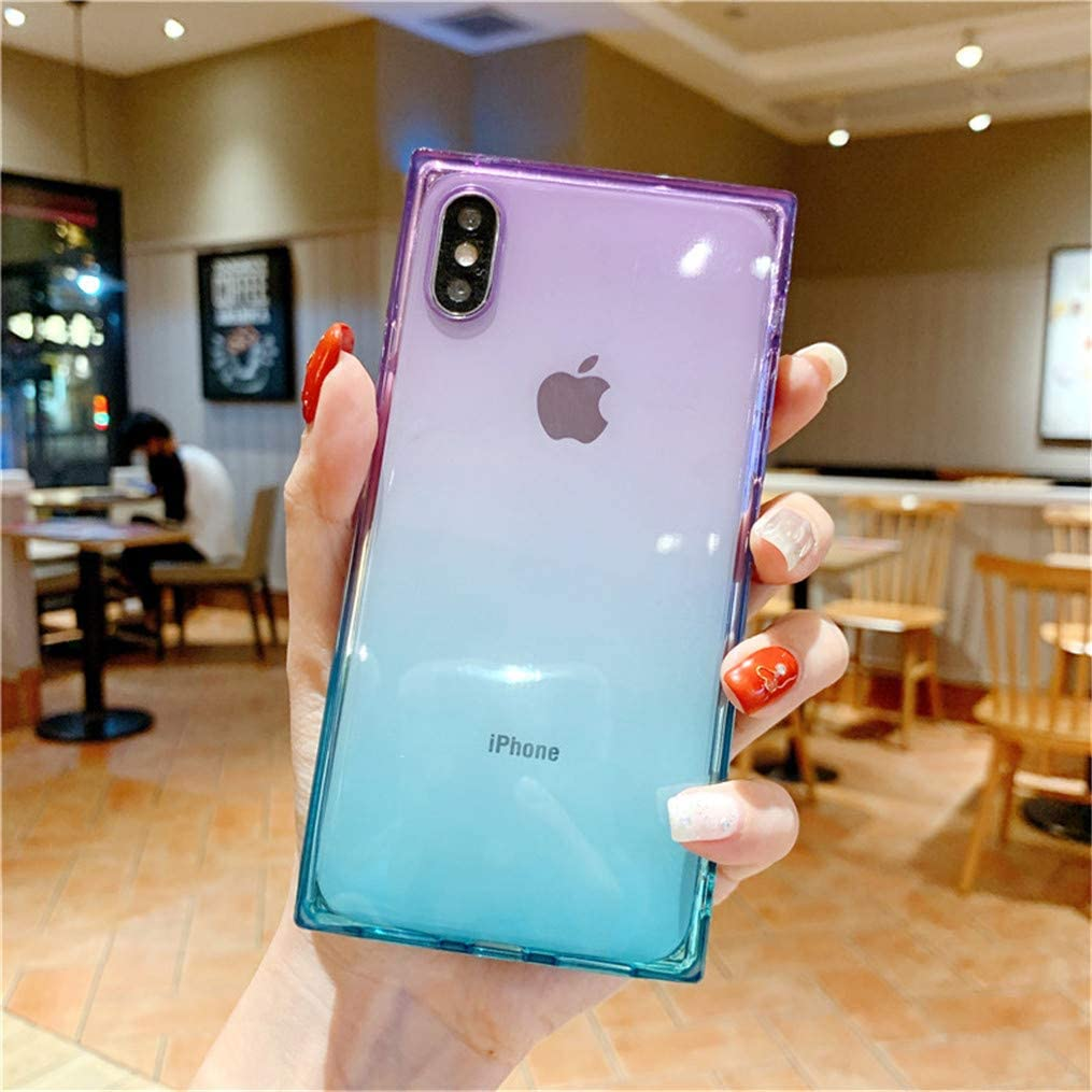 iPhone Xs Max Square Phone Case,Hosgor Clear Gradient Cute Cover for Girls,Corners Reinforced Slim Flexible TPU Shockproof for Apple iPhone Xs Max(6.5 inch)-Purple Blue
