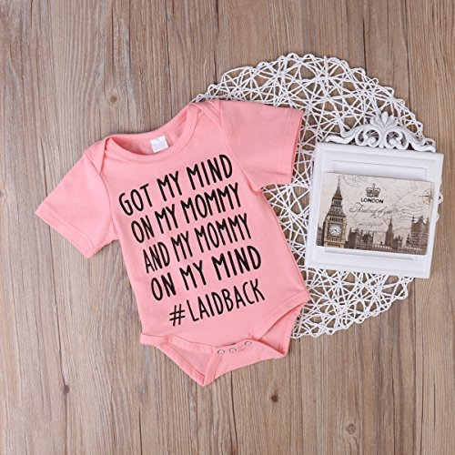 "Newborn Baby Boys Girls ""On My Mind"" Short Sleeve Romper Bodysuit Playsuit Outfits (12-18 Months, Pink)"