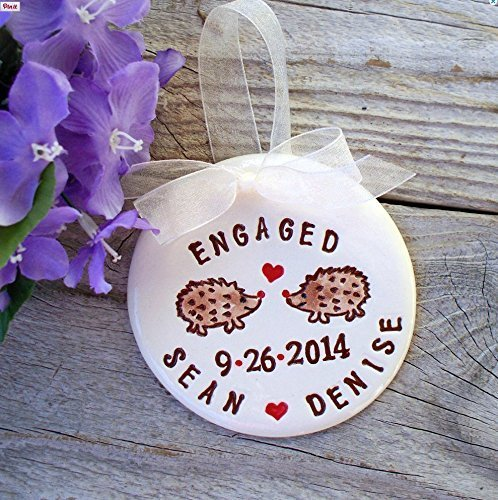 Personalized Engagement or Wedding Ornament - Hedgehogs in Love (Names Adorable Hedgehog)