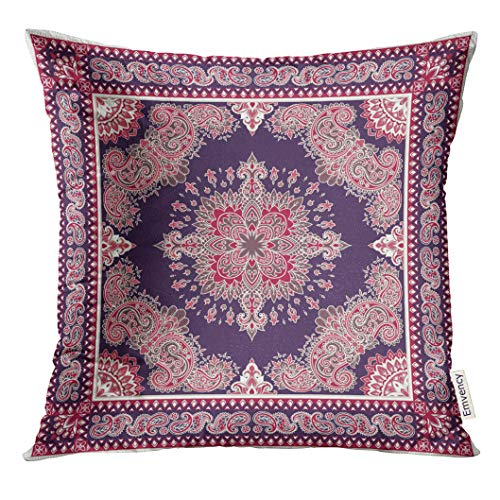 Ornamental Silk Square Scarf - UPOOS Throw Pillow Cover Vintage Paisley Bandana Silk Neck Scarf Kerchief Pattern Design Style for Ornamental Western Decorative Pillow Case Home Decor Square 16x16 Inches Pillowcase