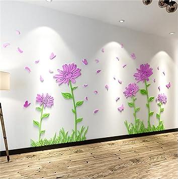 Wmshpeds Sonnenblume Wohnzimmer Acryl 3d Stereo Aufkleber Wand Fernseher  Sofa Hintergrund Wand Wand Dekoration Einfügen Aufkleber