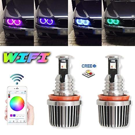 2 x RGB H8 LED Ojos De Ángel reemplazar bombilla HID 6000 K luz para BMW