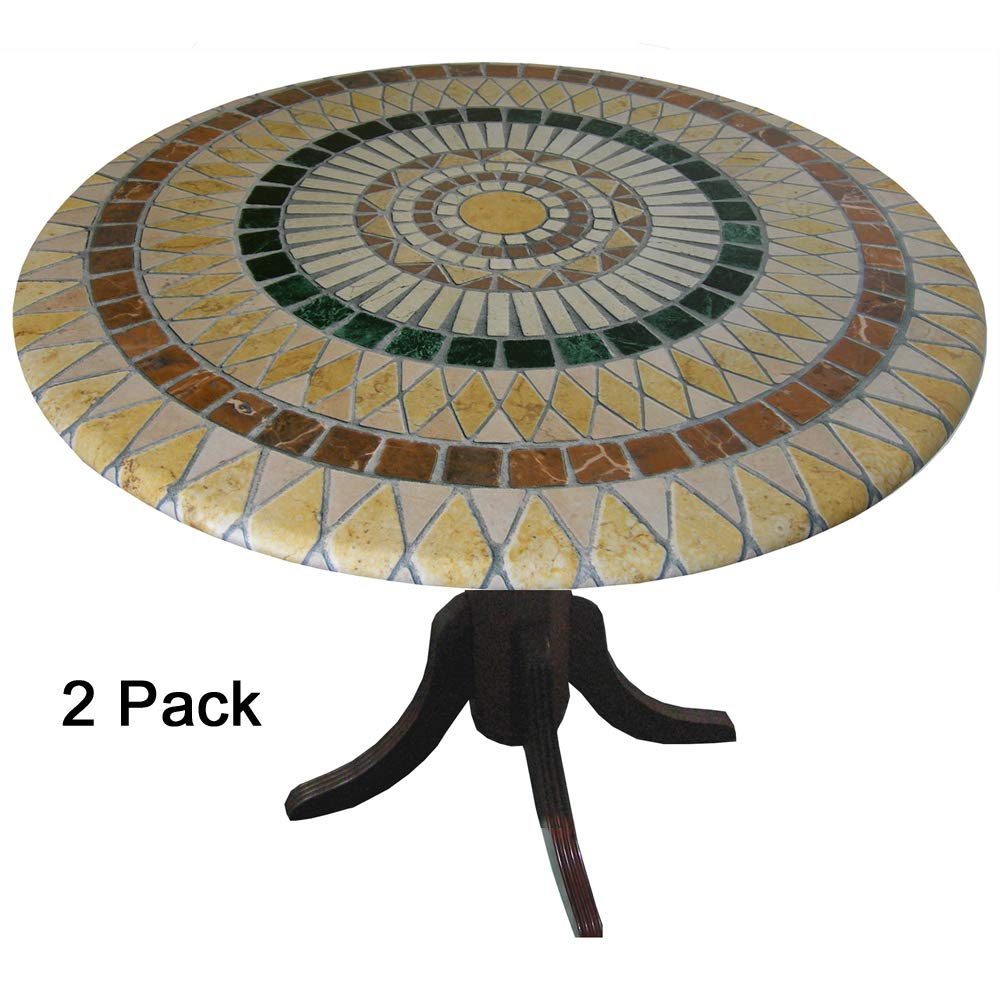 TableMagic 2 Pack of 2 Fitted Vinyl tablecloths (tablecovers, Table Covers)-Tuscan Tile Mosaic for a Magical Transformation of 36'' - 48'' Tables by TableMagic