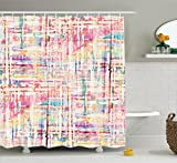 Pink and Cream Shower Curtains Ambesonne House Decor Shower Curtain Set, Abstract Distressed Grunge Paint with Manifold Complicated Mixed Figures and Lines Artsy Print, Bathroom Accessories, 69W X 70L Inches, Pink Cream