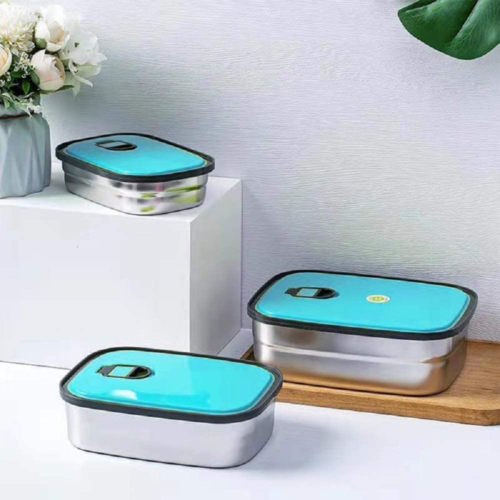 Stainless Steel Food Storage Containers with Lids,Leak Proof Metal Bento Set,Stackable Lunch Boxes,Eco-Friendly BPA-Free,Durable Sandwich Box for Work School Outdoor,Reusable 3 Pack (Blue)