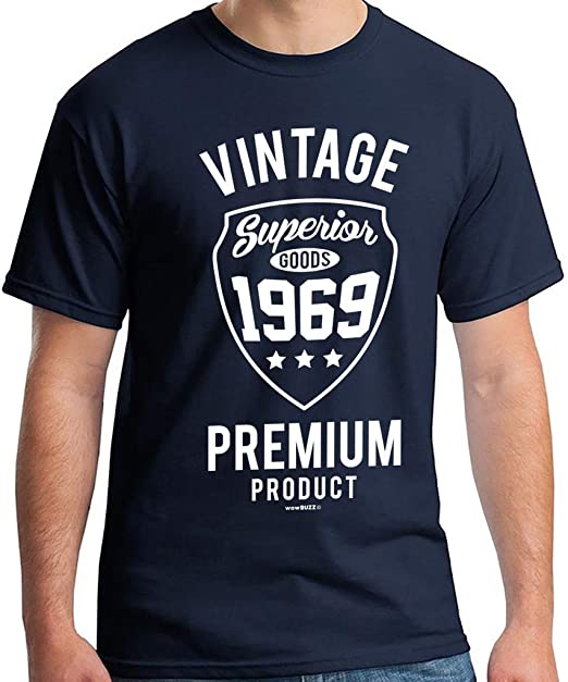 50th Birthday Gifts Men Vintage Premium 1969 T Shirt For Navy Blue Amazoncouk Clothing