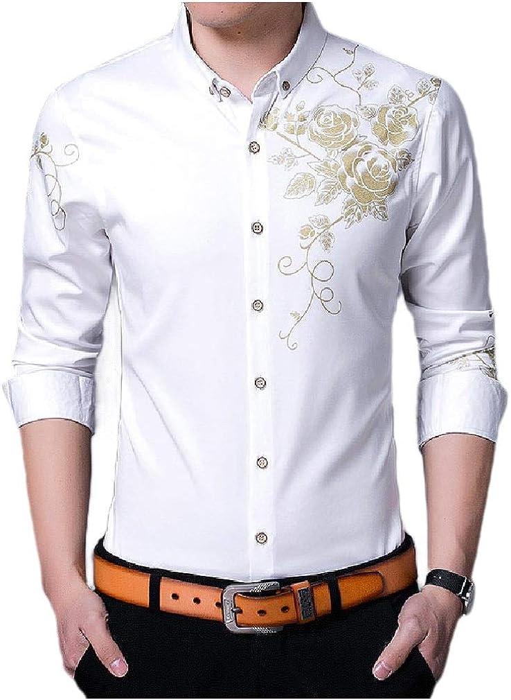 DressUMen Digital Print Long-Sleeve Silm Fit Bussiness Gentleman Dress Shirt