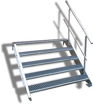 Escaleras de acero de 5 peldaños con barandilla einseitigem/Nivel Planta ancho 90 cm/Altura 70 –