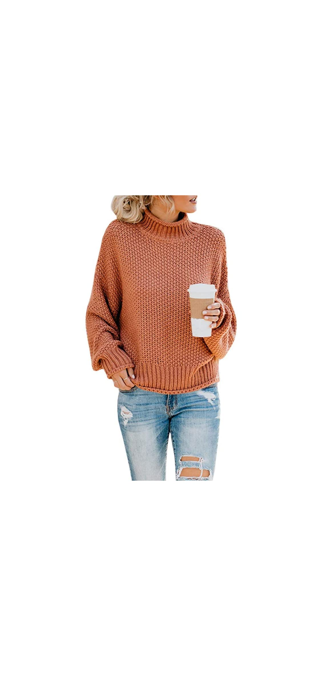 Womens Oversized Turtlenecks Sweaters Batwing Long Sleeve