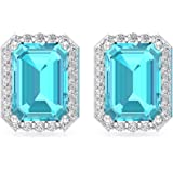 2.5 Ct Blue Topaz Swiss Stud Earring, Octagon Shape Birthstone Earring, SGL Certified Diamond Bridal Wedding Earring, HI-SI D